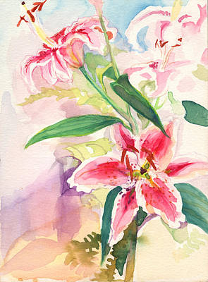Poster featuring the painting Pink Stargazer Lilies by Nancy Watson