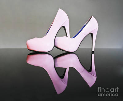 Pink Stiletto Shoes Poster by Terri Waters