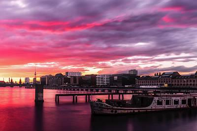 Pink Sunset Over Berlin Poster by Artem Sapegin