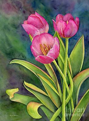 Pink Tulip Twist Poster by Amy Kirkpatrick