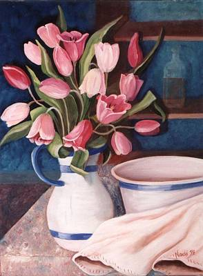 Poster featuring the painting Pink Tulips by Renate Nadi Wesley