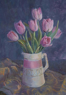 Pink Tulips Poster by Sue Wales