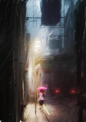 Pink Umbrella Poster by H James Hoff