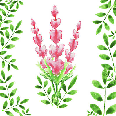 Pink Watercolor Flowers And Leaves I Poster