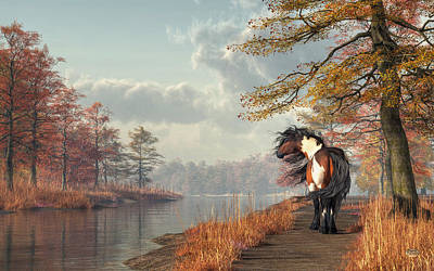 Poster featuring the digital art Pinto Horse On A Riverside Trail by Daniel Eskridge