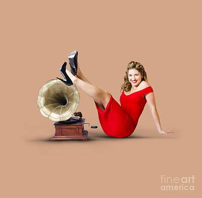 Pinup Girl In Red Dress Playing Classical Music Poster