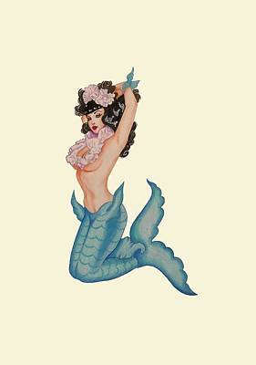 Pinup Mermaid Poster by Noelle Lucia