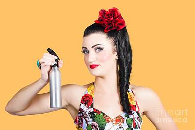 Pinup Woman Holding A Cleaning Spray Bottle Poster
