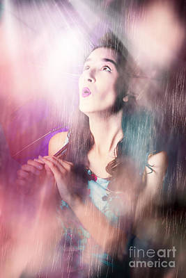 Pinup Woman Mesmerised By Pouring Down Rainfall Poster by Jorgo Photography - Wall Art Gallery