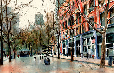 Poster featuring the painting Pioneer Square by Marti Green