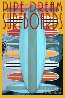 Poster featuring the digital art Pipe Dream Surfboards 4 by Edward Fielding