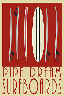 Poster featuring the digital art Pipe Dream Surfboards by Edward Fielding