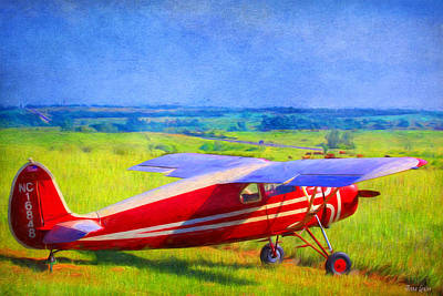 Piper Cub Airplane In Kansas Prairie Poster