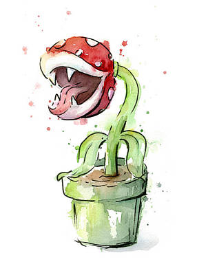 Piranha Plant Watercolor Poster by Olga Shvartsur