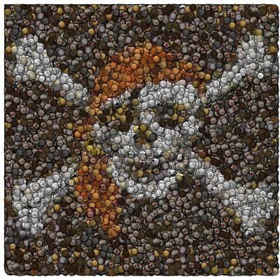 Poster featuring the digital art Pirate Coins Mosaic by Paul Van Scott