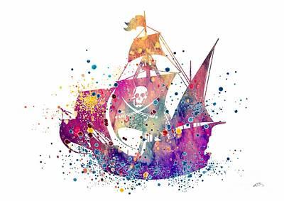 Pirate Ship 2 Watercolor Poster by Svetla Tancheva
