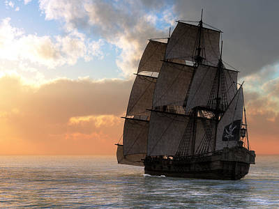 Pirate Ship Sunset Poster by Daniel Eskridge