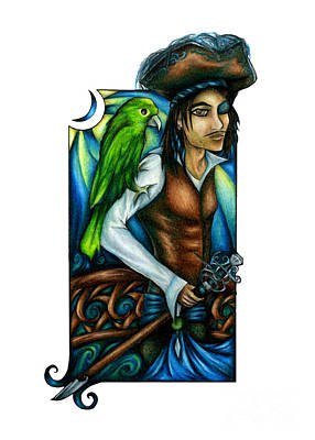 Pirate With Parrot Art Poster
