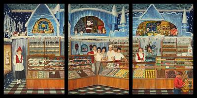Pirius Bakery Christmas 1960's Triptych Poster
