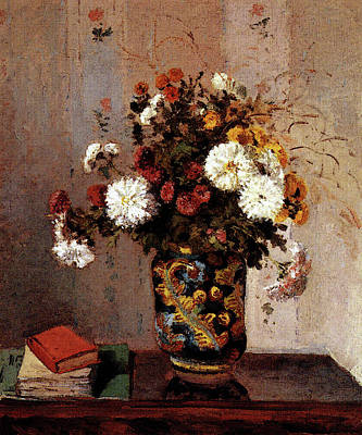 Pissarro Camille Chrysanthemums In A Chinese Vase Poster by Camille Pissarro