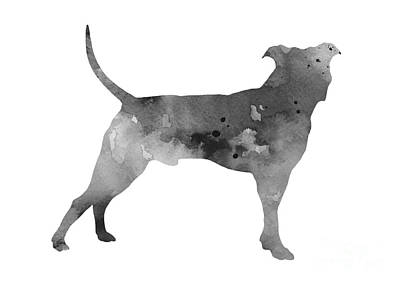 Pit Bull Silhouette Watercolor Art Print Painting Poster by Joanna Szmerdt