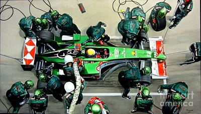 Pit-stop Jaguar Racing Team. 2004 Poster by Artem Oleynik