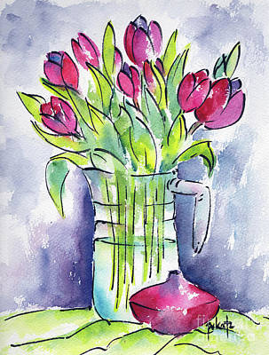Pitcher Of Tulips Poster