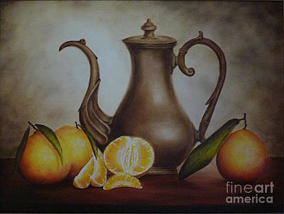 Pitcher With Oranges Poster