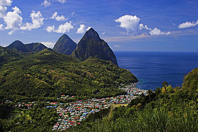 Pitons St Lucia Poster by Chester Williams