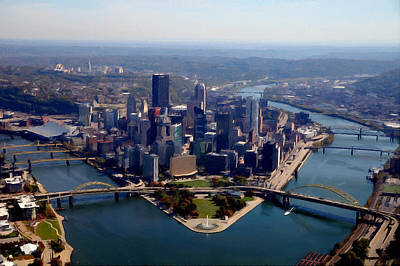 Pittsburgh Aerial Digital Painting Poster by Mattucci Photography