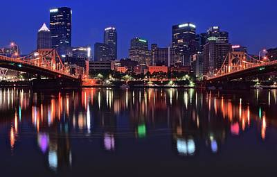 Pittsburgh Blue Hour Lights Poster by Frozen in Time Fine Art Photography
