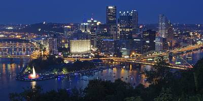 Pittsburgh Blue Hour Panoramic Poster by Frozen in Time Fine Art Photography