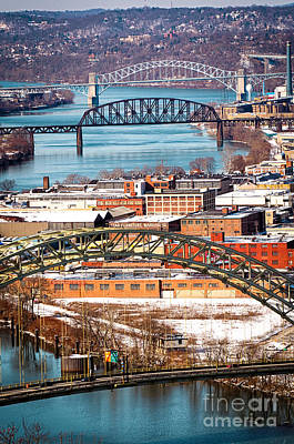 Pittsburgh Bridges Along The Ohio River Poster by Amy Cicconi