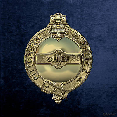 Pittsburgh Bureau Of Police -  P B P  Chief Badge Over Blue Velvet Poster