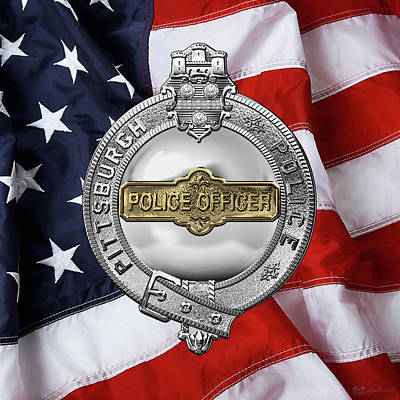 Pittsburgh Bureau Of Police -  P B P  Police Officer Badge Over American Flag Poster