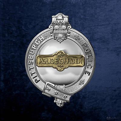 Pittsburgh Bureau Of Police -  P B P  Police Officer Badge Over Blue Velvet Poster by Serge Averbukh