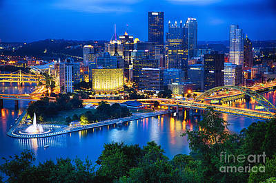 Pittsburgh Downtown Night Scenic View Poster by George Oze