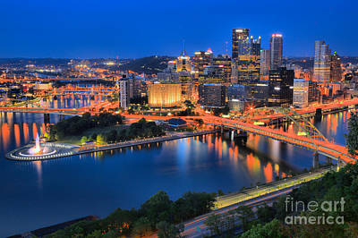 Pittsburgh Evening Glow Poster by Adam Jewell
