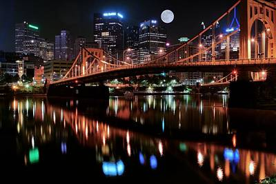 Pittsburgh Full Moon Poster by Frozen in Time Fine Art Photography