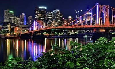 Pittsburgh Lights Bridge And Foliage Poster