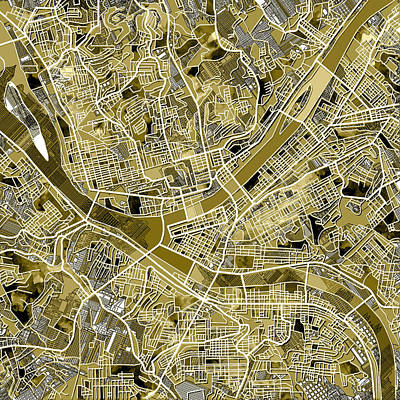 Pittsburgh Map Old Poster by Bekim Art