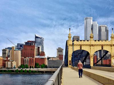 Pittsburgh Pa - Crossing The Smithfield Street Bridge Poster by Susan Savad