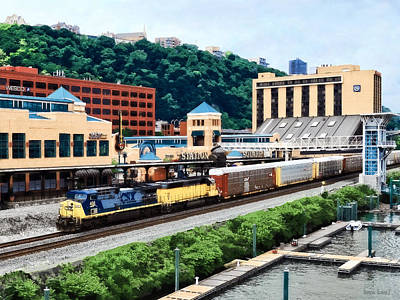 Pittsburgh Pa - Freight Train Going By Station Square Poster by Susan Savad