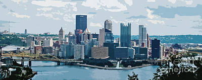 Pittsburgh Pano Cutout Poster by Pittsburgh Photo Company
