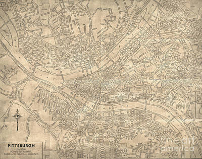 Pittsburgh Pennsylvania Antique Vintage City Map Poster by ELITE IMAGE photography By Chad McDermott
