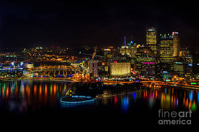 Pittsburgh Pennsylvania City Skyline At Night Poster by Amy Cicconi