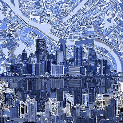 Pittsburgh Skyline Abstract 4 Poster by Bekim Art