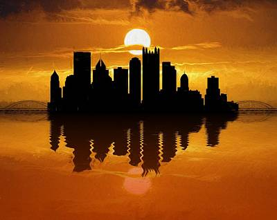 Pittsburgh Skyline Sunset Reflection Poster by Dan Sproul