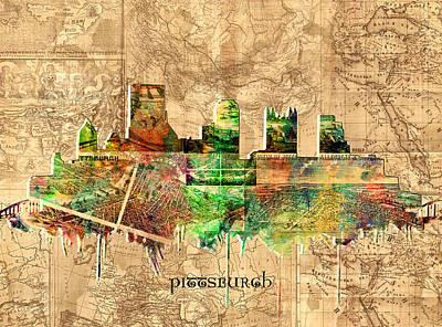 Pittsburgh Skyline Vintage 2 Poster by Bekim Art
