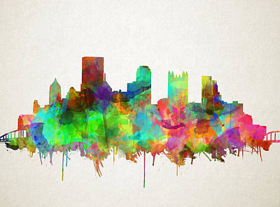 Pittsburgh Skyline Watercolor 5 Poster by Bekim Art